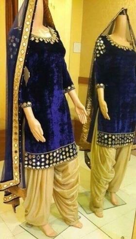 Velvet Mirror work Salwar Suit