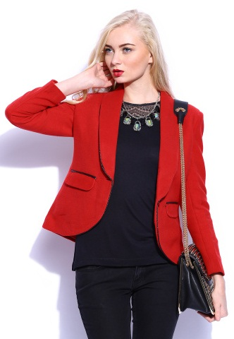Vero Moda Red Solid Fitted Blazer