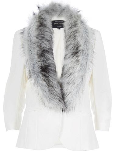 White Blazer with Fur