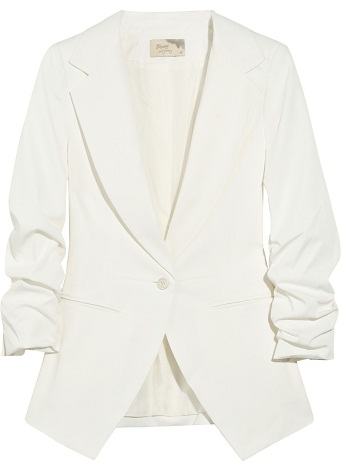 White Blazer with Ruched Sleeve