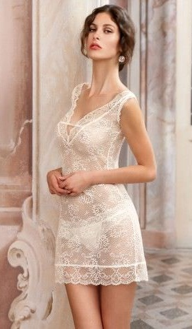 White Floral Net Bridal Nighty