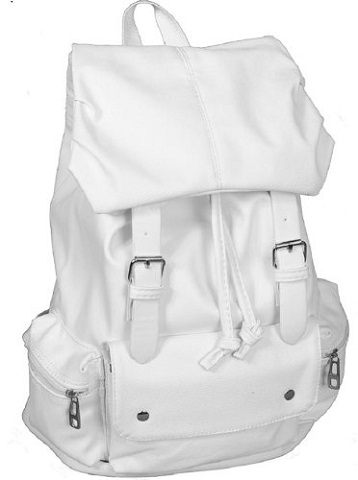 White Leather School Bag for Young Girls -22