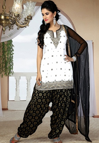 White and Black Patiala Suit