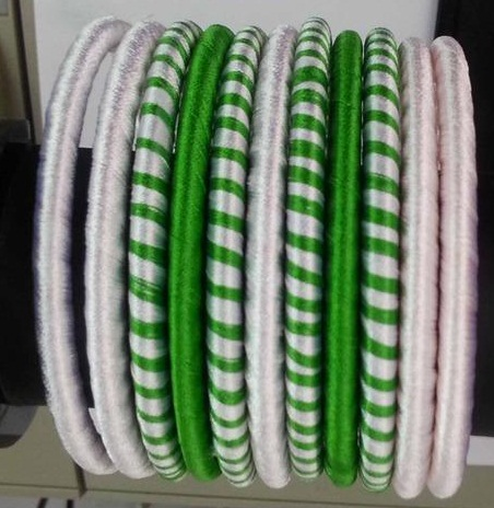 White and Green Silk Thread Bangles for Girls