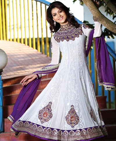 White and Purple Anarkali Suit