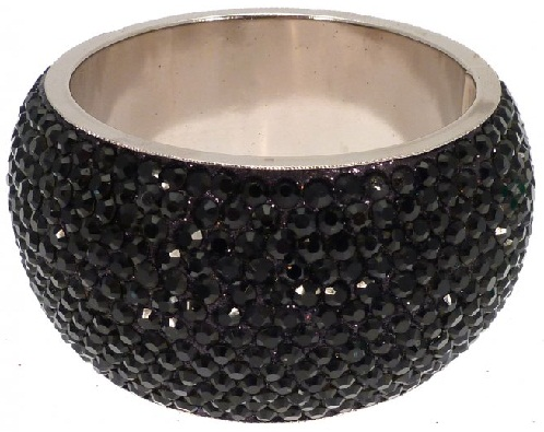 Wide Black Crystal Bangles