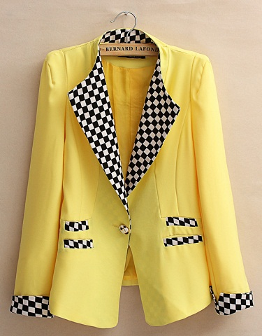 Yellow Blazer with Designs