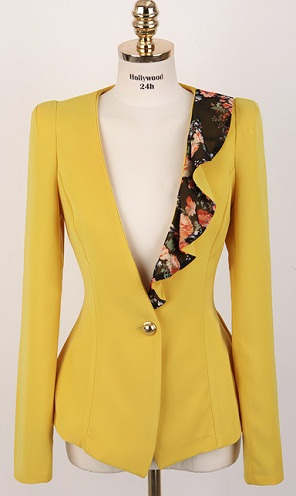 Yellow Blazer with Lotus Leaf Collar