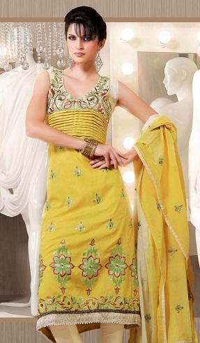 Yellow Cotton Embroidery Salwar Kameez Design