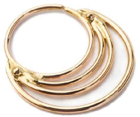 14 K Solid Gold 4 Layer Designer Nose Ring