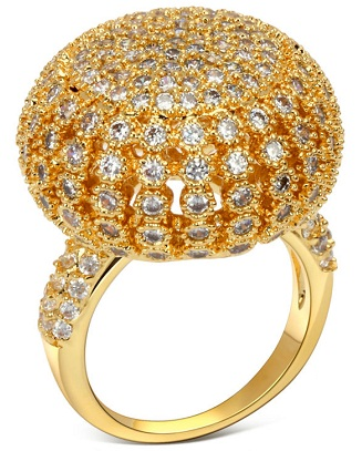 18 K gold Big Gold Ring with Diamonds