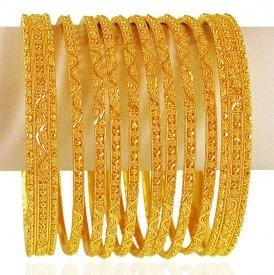 22 Karat Gold Bangle Set with Kadas