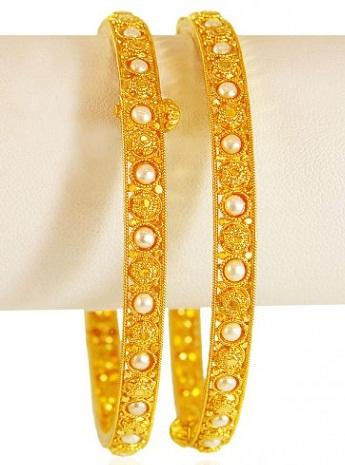 22 Karat Gold Pearl Bangles