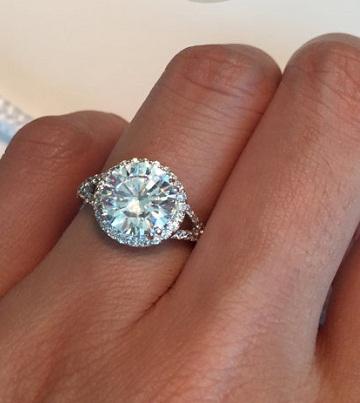 3 Carat Split Shank Halo Engagement Ring