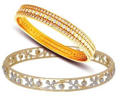 8gm Gold Diamond Bangles
