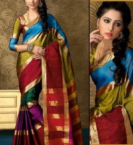 A Multicolor South Indian Cotton Saree Blouse