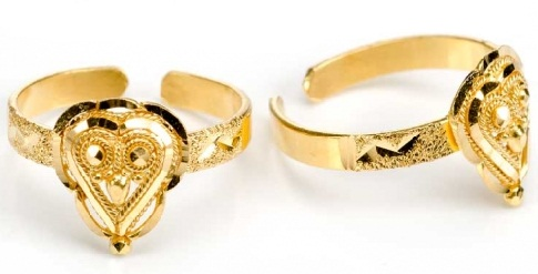 Adjustable 22 K Gold Toe Rings