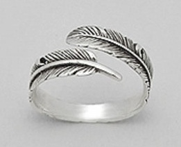 Adjustable Feather Sterling Silver Ring
