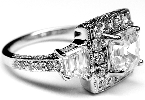 Asscher cut diamond vintage eneagement ring