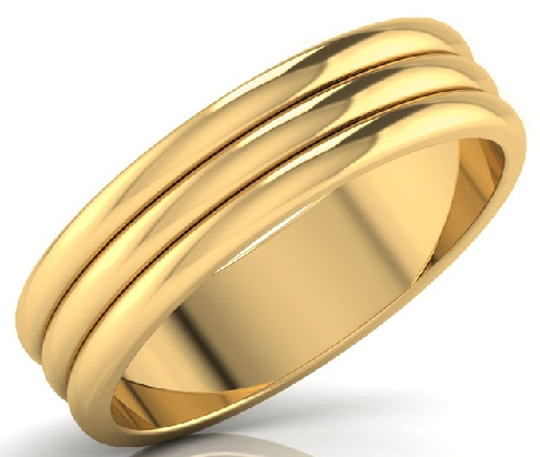 Banded Engagement Ring in Gold