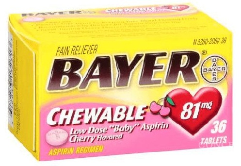 Bayer's Chewable Aspirin Midcine For Baby Fever