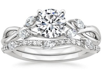 Beautiful Carved Wedding Ring Set