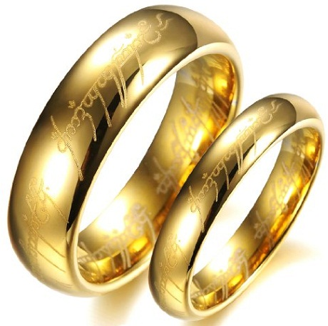 Bible Engraved Gold Couples Ring
