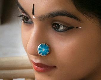 Big Blue Nose Stud Ring