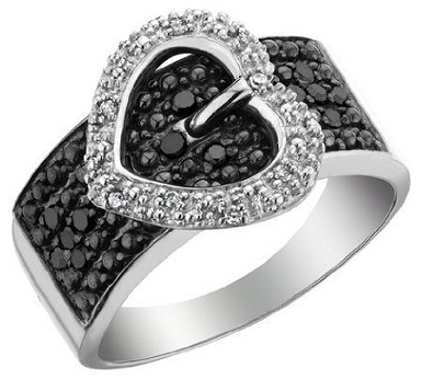 Black Diamond Buckle Stylish Ring for Women
