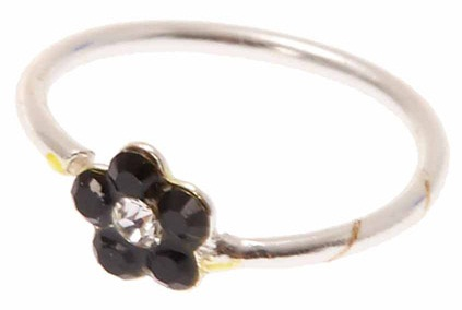 Black Flower Styled Nose Ring