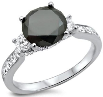 Black Three Stone Diamond Ring