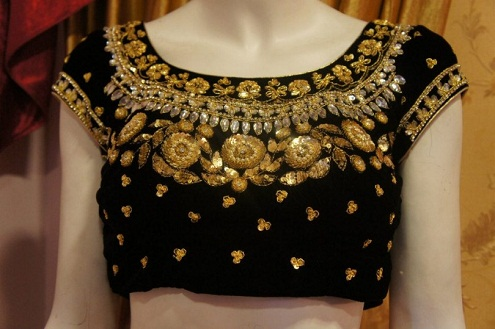 Black Velvet Blouse with Golden Embroidery and Jewellery