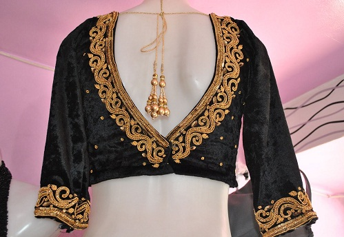 Black Velvet with Golden Embroidery
