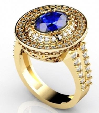 Blue Diamond Gold Rings