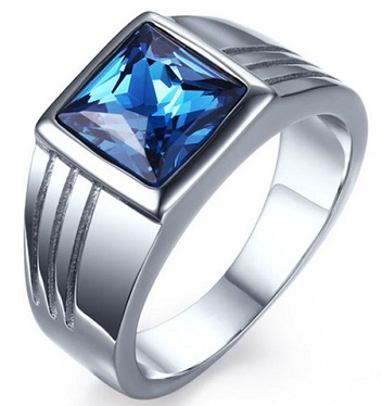 Blue Diamond Tungsten Ring for Men