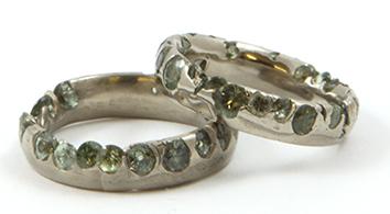 Blue Stones on Silver Designer wedding Ring