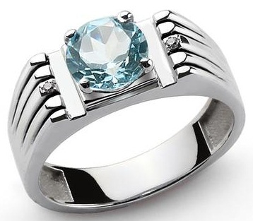 Blue Topaz Sterling Silver Ring with Diamonds