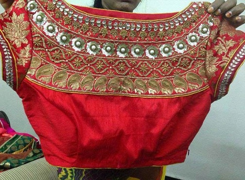 Boat Neck Maggam Work on Blouse -7