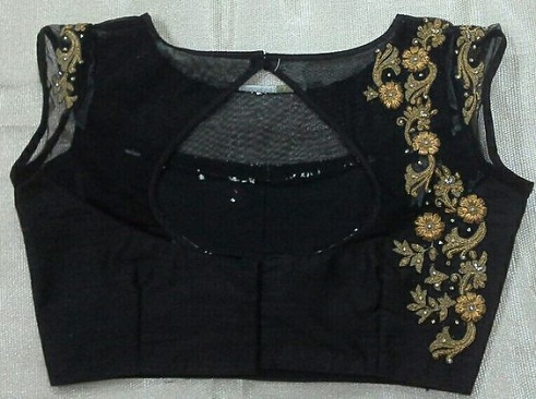 Boat Neck Maggam Work Blouse Designs