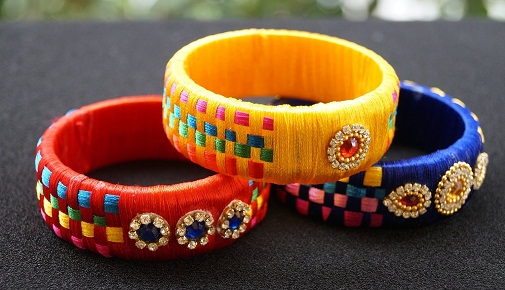 Broad Silk Thread Bangles
