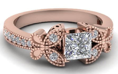 Butterfly Ring with Princess Cut Diamonds
