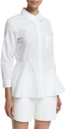 Button Down Peplum White Blouse
