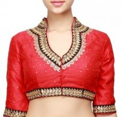 Stand Collar Blouse Designs : Specific styles of collar neck blouse patterns catalogue