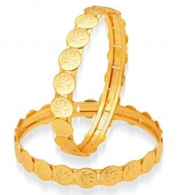 Coin Design Gold Plated Bangle