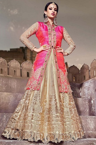 Collar coat Lehenga design