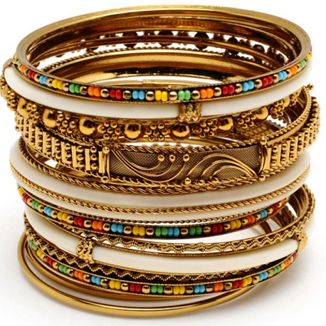 Colorful Beaded Brass Bangles