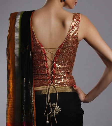 21 Fashionable Corset Blouse Designs For Indian Sarees