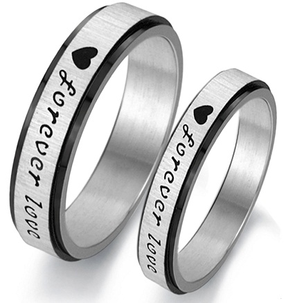 Couple Ring Set in Black & Silver