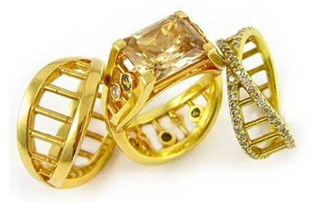 Couples DNA gold rings