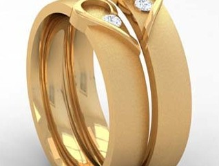 Couples Heart Rings in Gold